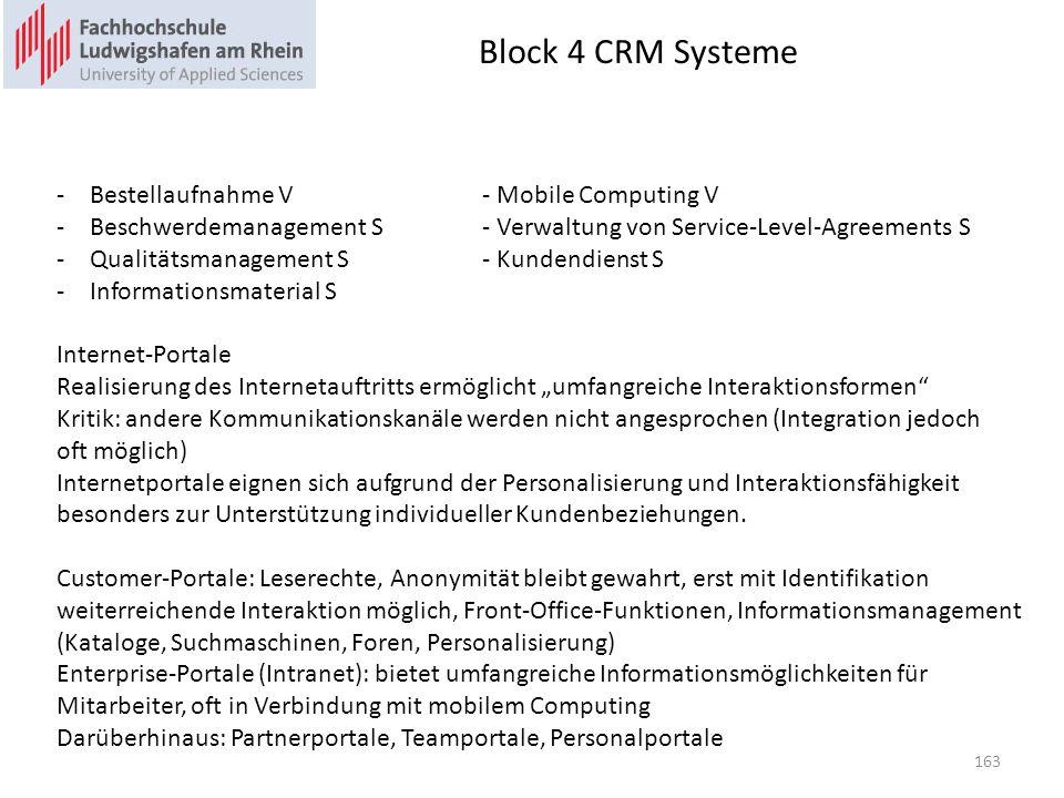 Block 4 CRM Systeme Bestellaufnahme V - Mobile Computing V