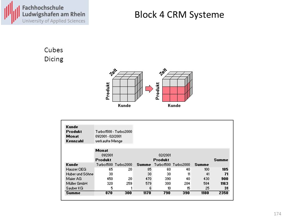 Block 4 CRM Systeme Cubes Dicing