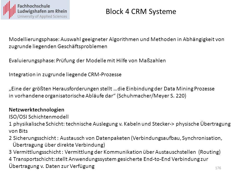 Block 4 CRM Systeme Modellierungsphase: Auswahl geeigneter Algorithmen und Methoden in Abhängigkeit von.