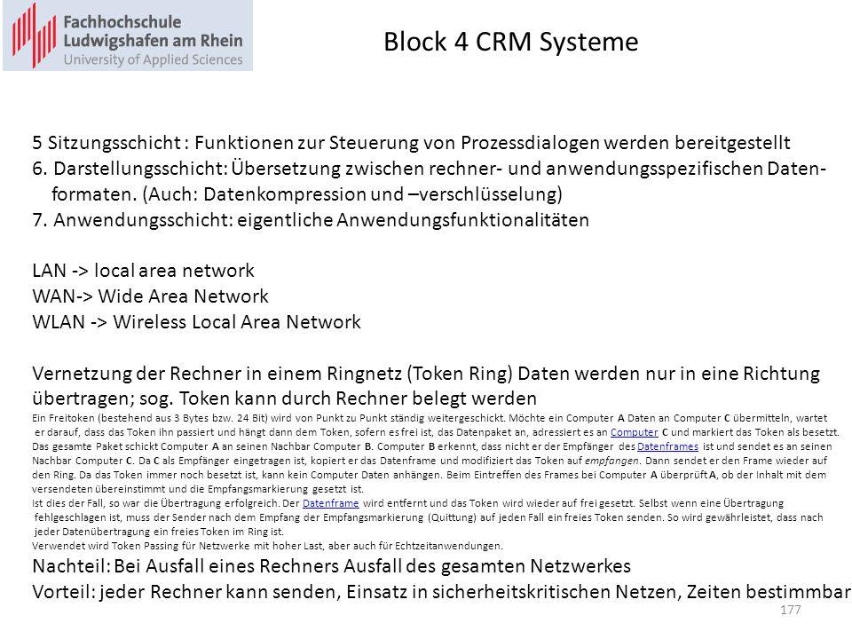 Block 4 CRM Systeme 5 Sitzungsschicht : Funktionen zur Steuerung von Prozessdialogen werden bereitgestellt.