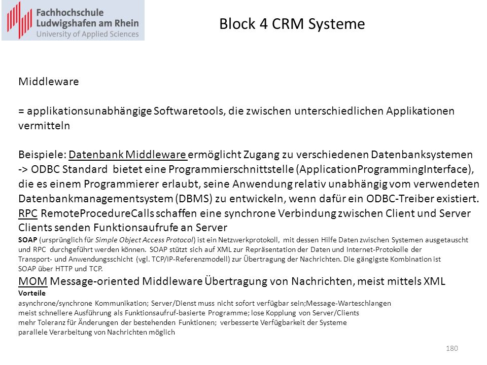 Block 4 CRM Systeme Middleware