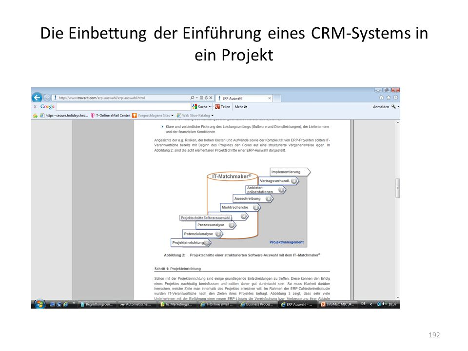 Die Einbettung der Einführung eines CRM-Systems in ein Projekt