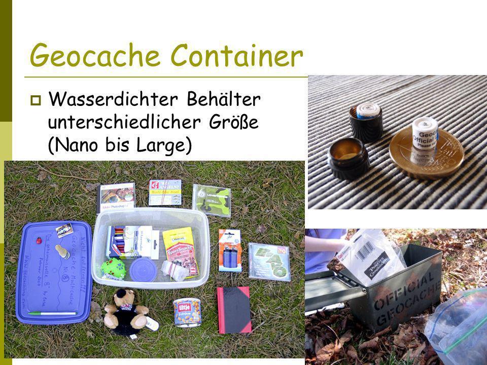 Geocache Container Wasserdichter Behälter unterschiedlicher Größe (Nano bis Large) Logbuch oder Zettel.