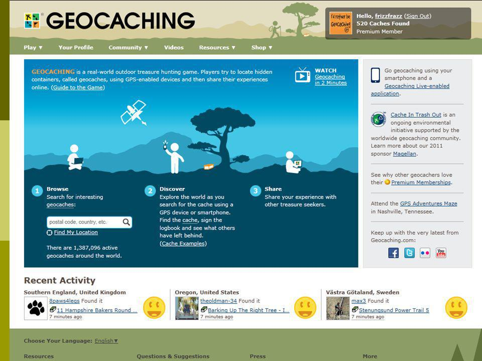Geocaches im Internet Informationen: