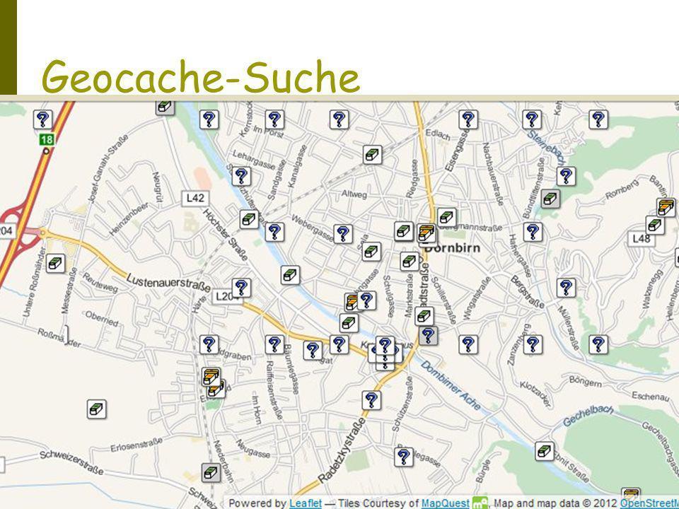 Geocache-Suche Suchort bestimmen