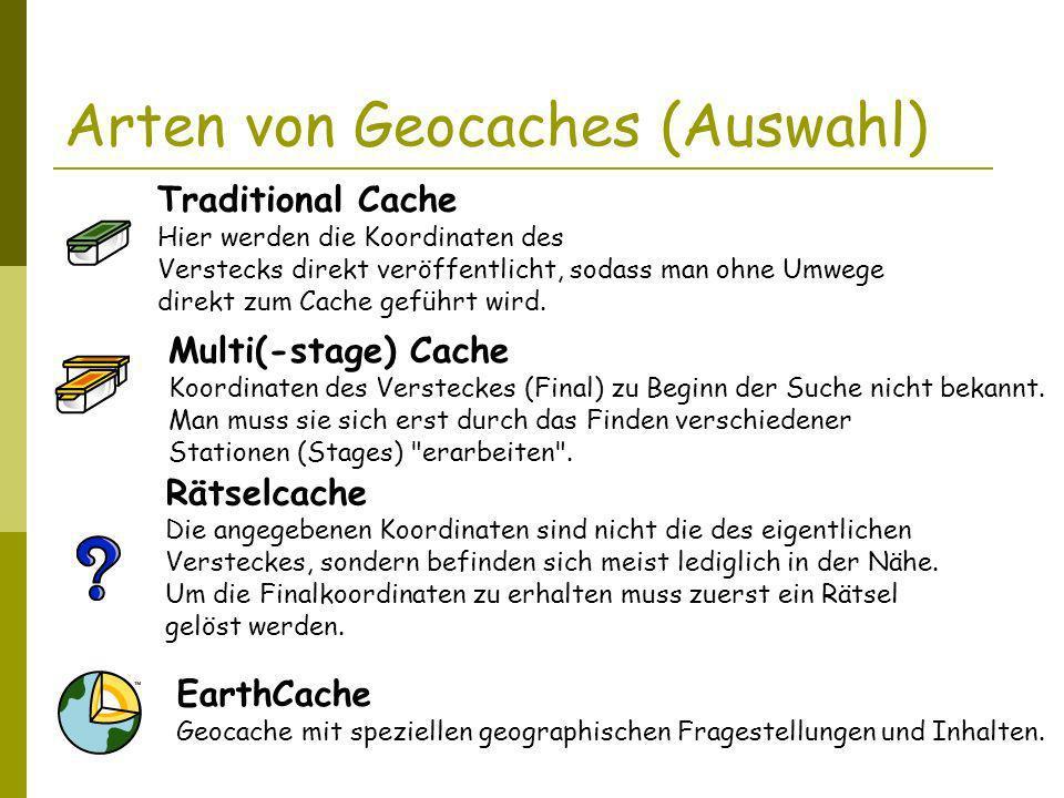 Arten von Geocaches (Auswahl)