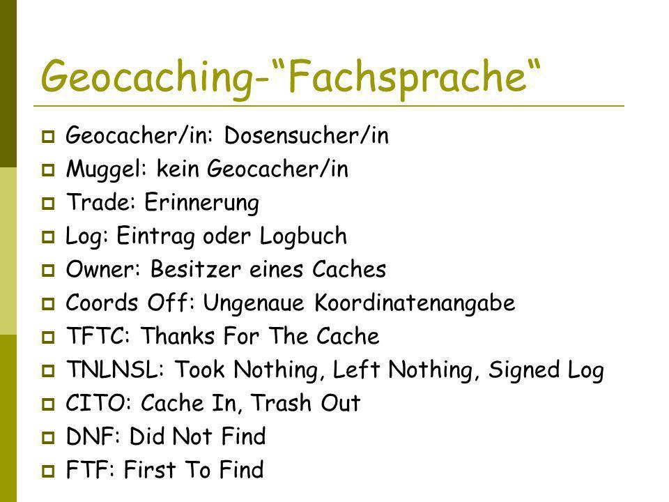 Geocaching- Fachsprache