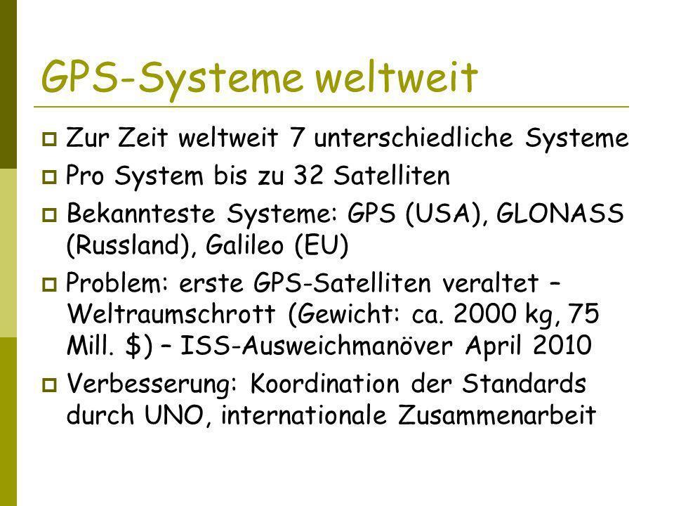 GPS-Systeme weltweit Zur Zeit weltweit 7 unterschiedliche Systeme