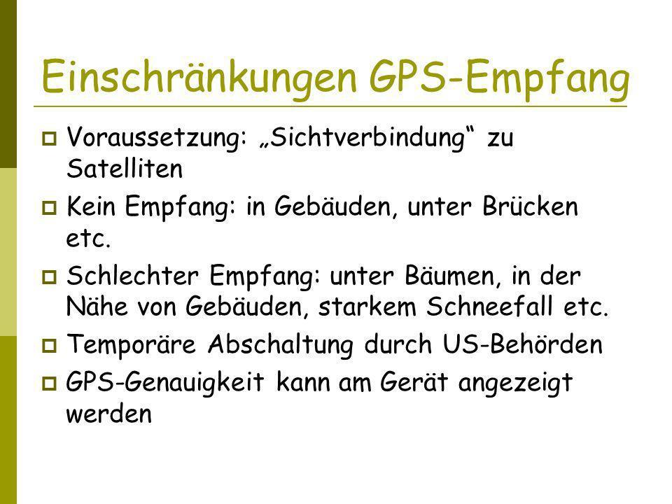 Einschränkungen GPS-Empfang