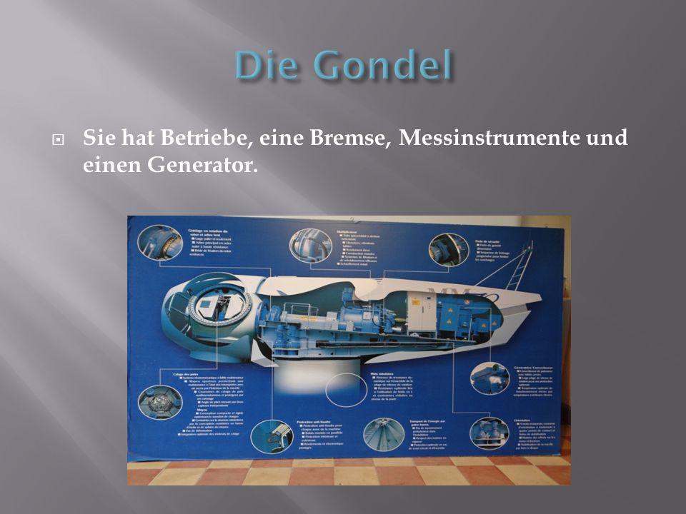 Die Gondel Sie hat Betriebe, eine Bremse, Messinstrumente und einen Generator.