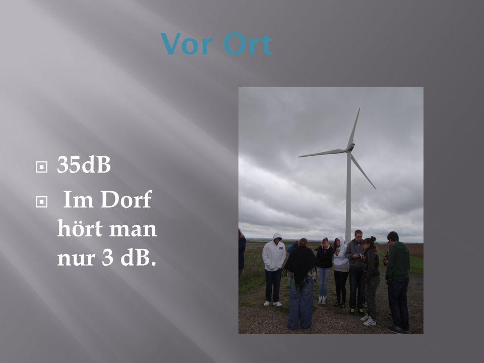 Vor Ort 35dB Im Dorf hört man nur 3 dB.