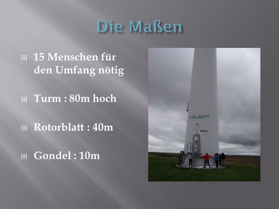 Die Maßen 15 Menschen für den Umfang nötig Turm : 80m hoch
