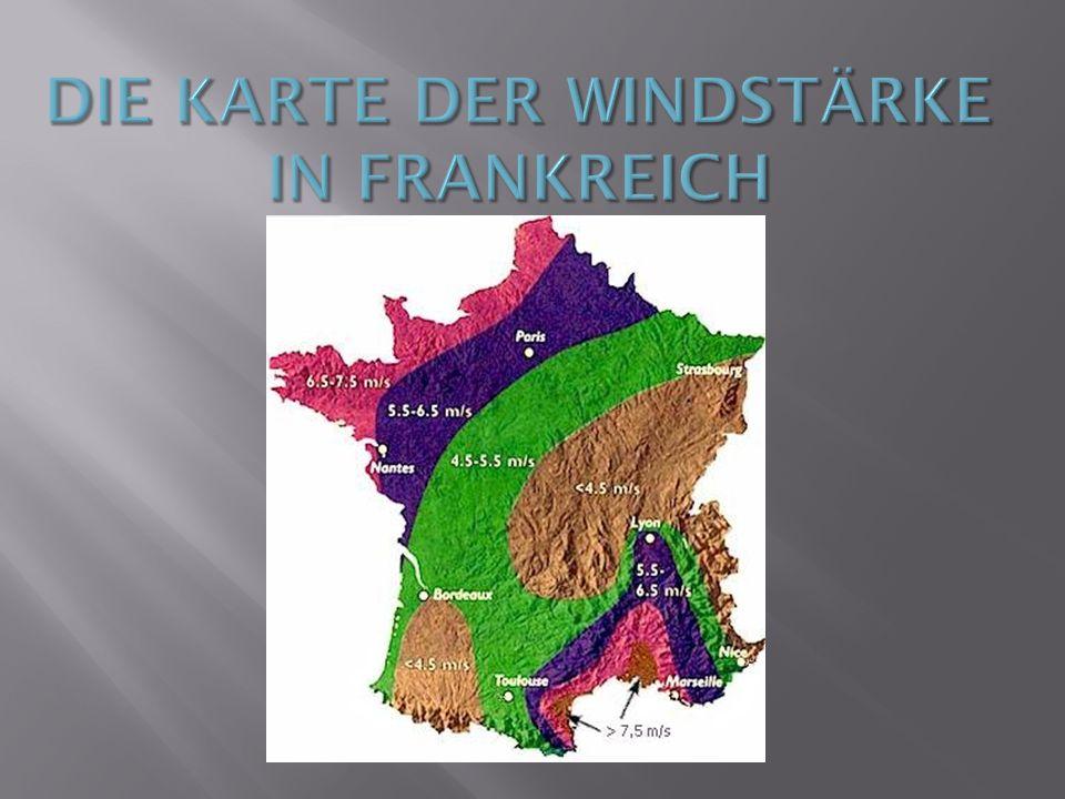 Die Karte der Windstärke in Frankreich