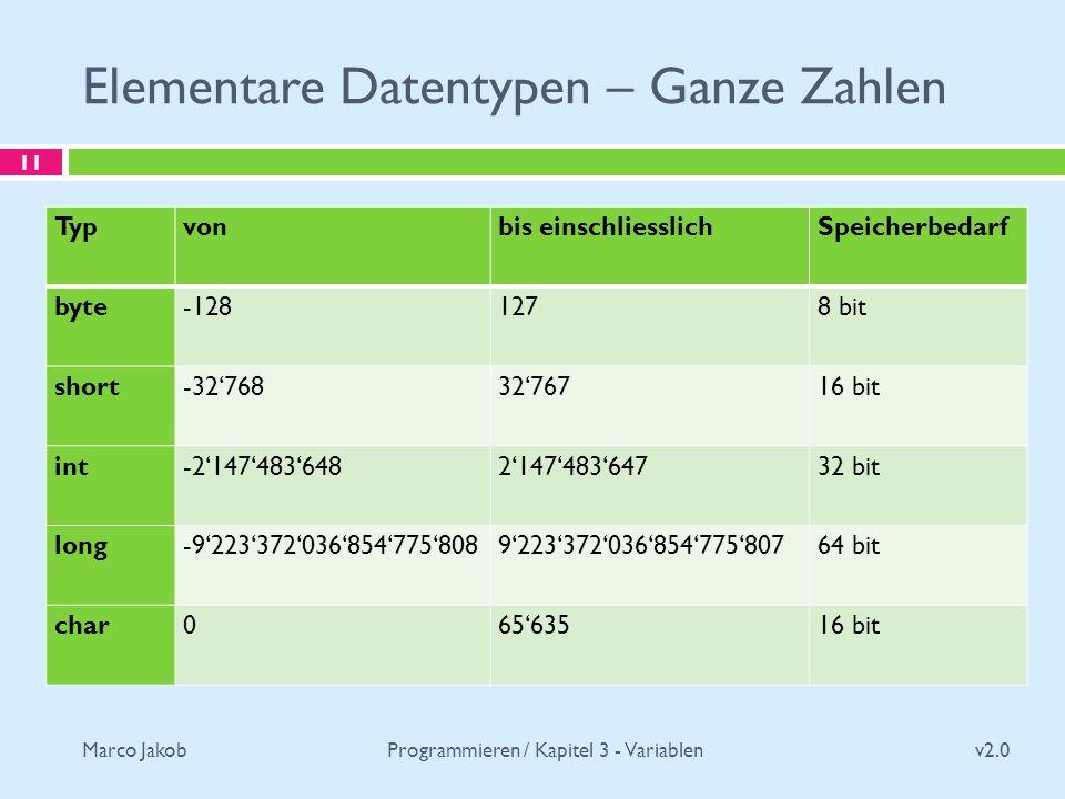 Elementare Datentypen – Ganze Zahlen