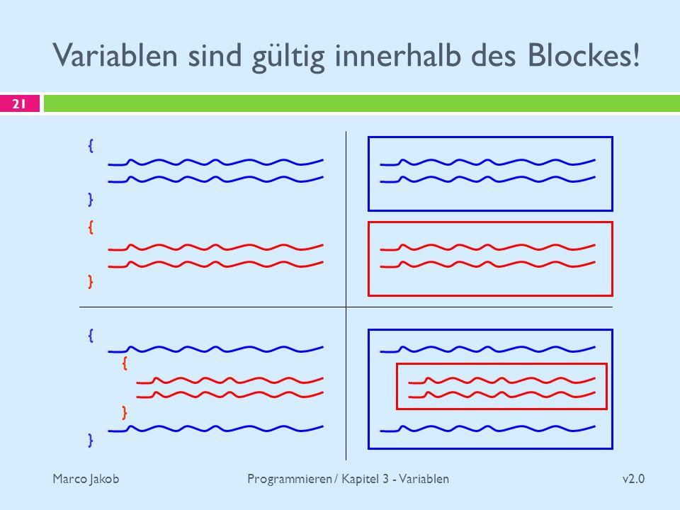 Variablen sind gültig innerhalb des Blockes!