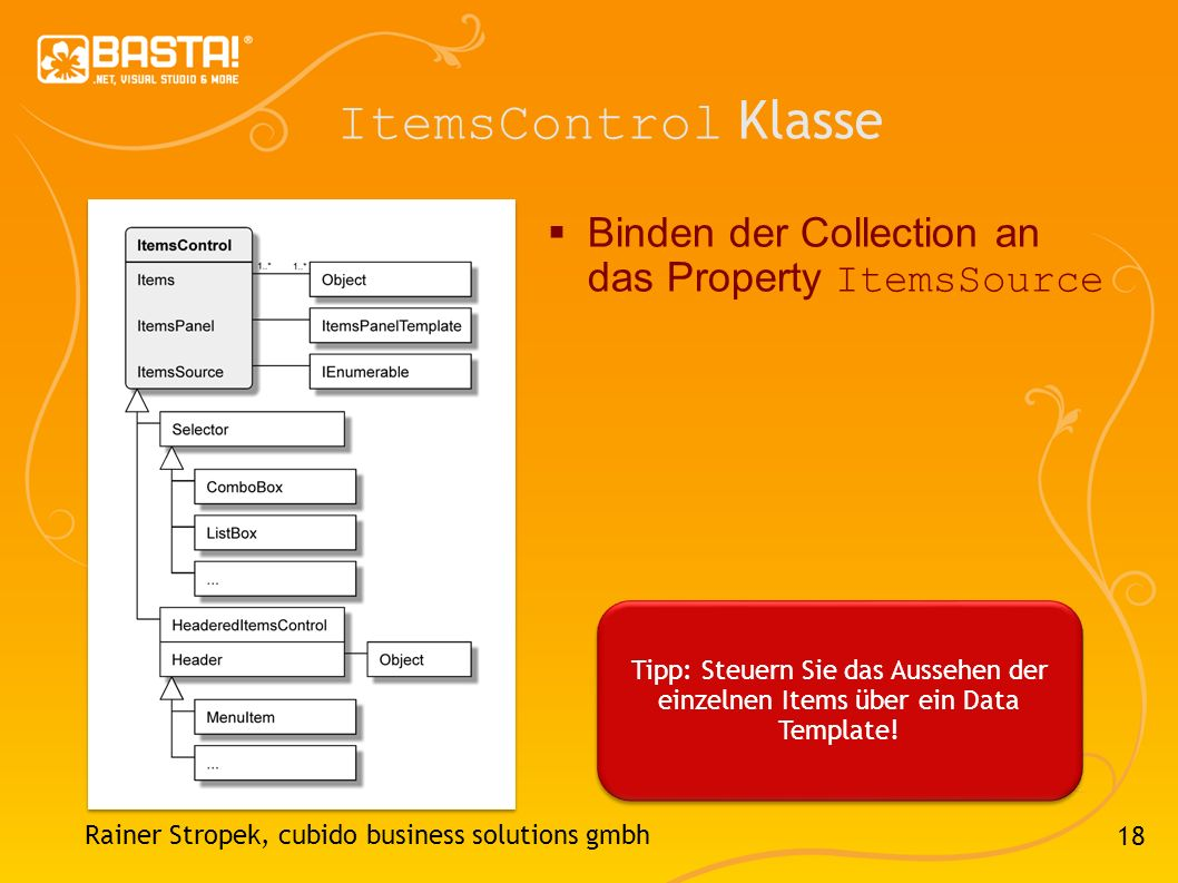 ItemsControl Klasse Binden der Collection an das Property ItemsSource