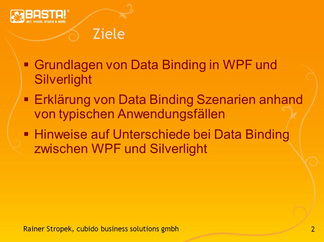 Ziele Grundlagen von Data Binding in WPF und Silverlight