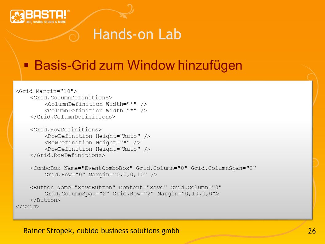 Hands-on Lab Basis-Grid zum Window hinzufügen