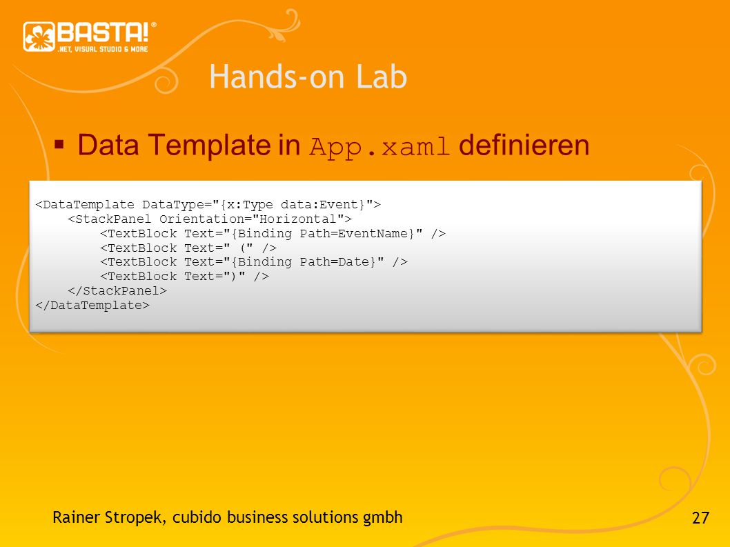 Hands-on Lab Data Template in App.xaml definieren
