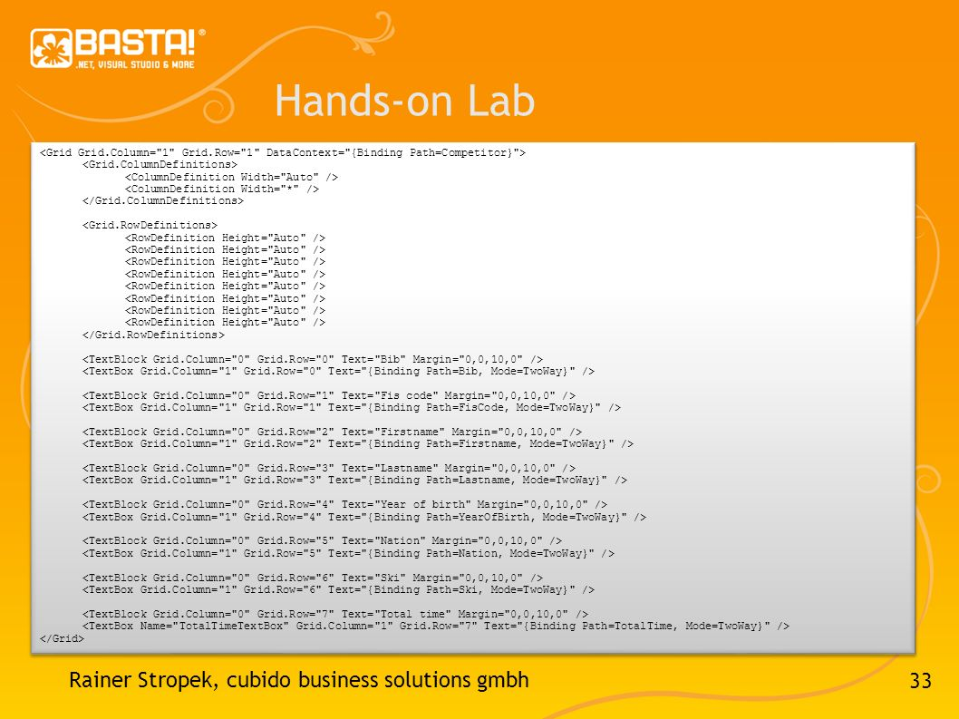 Hands-on Lab Rainer Stropek, cubido business solutions gmbh