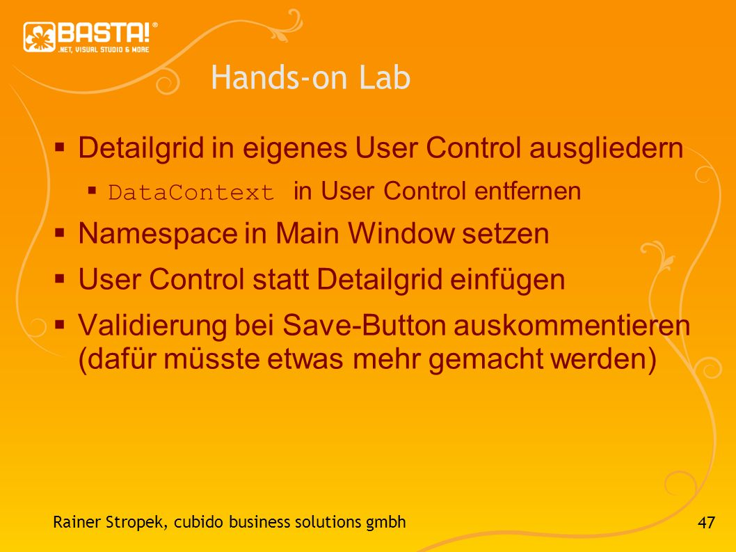 Hands-on Lab Detailgrid in eigenes User Control ausgliedern
