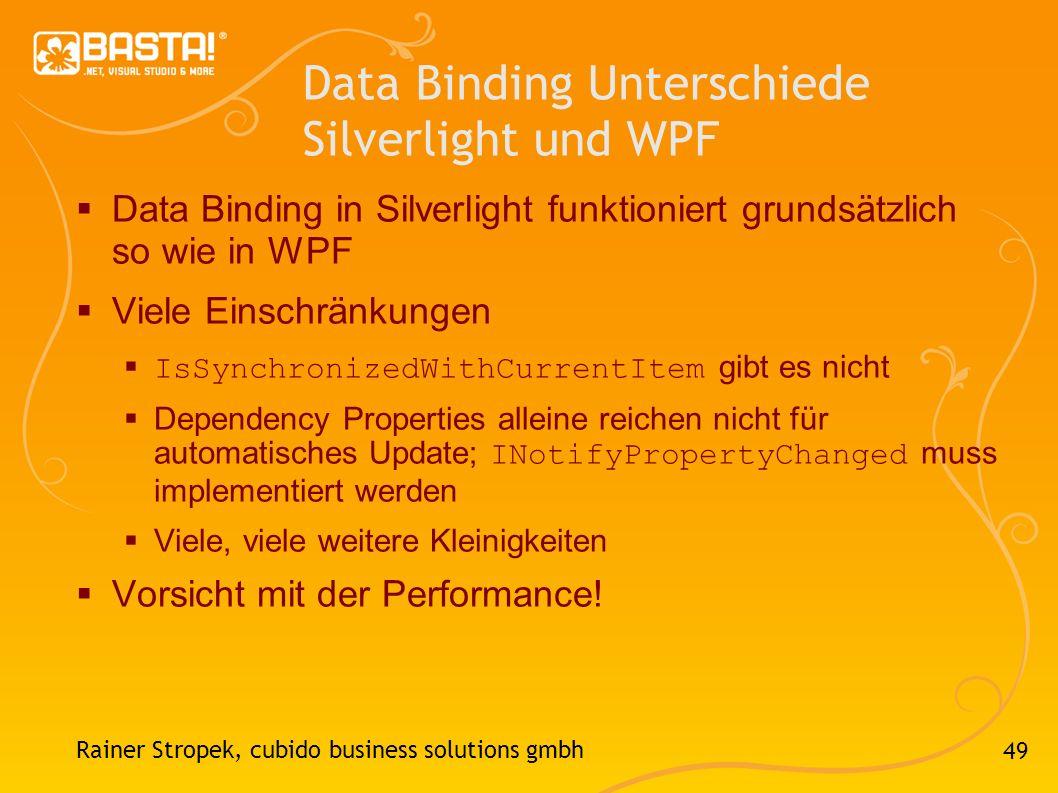 Data Binding Unterschiede Silverlight und WPF