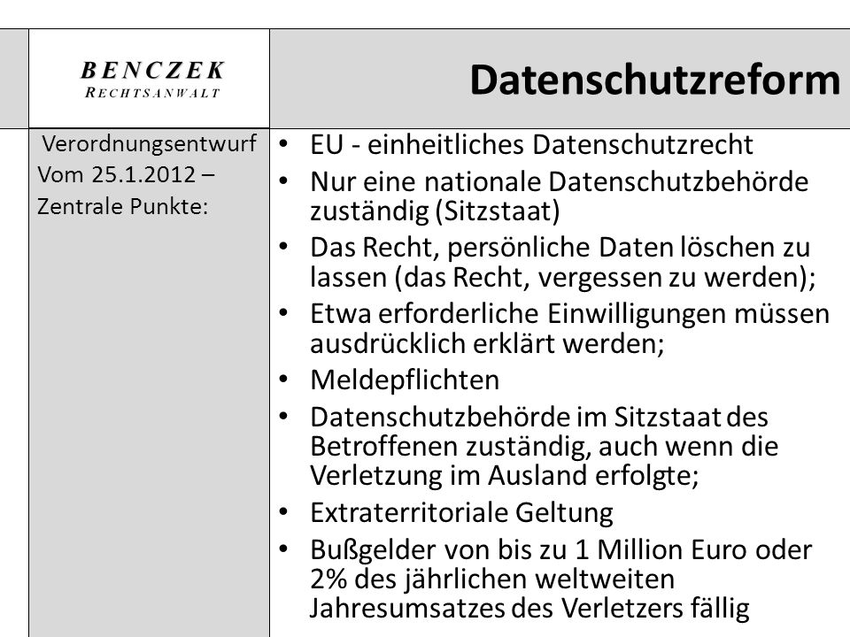 Datenschutzreform EU - einheitliches Datenschutzrecht