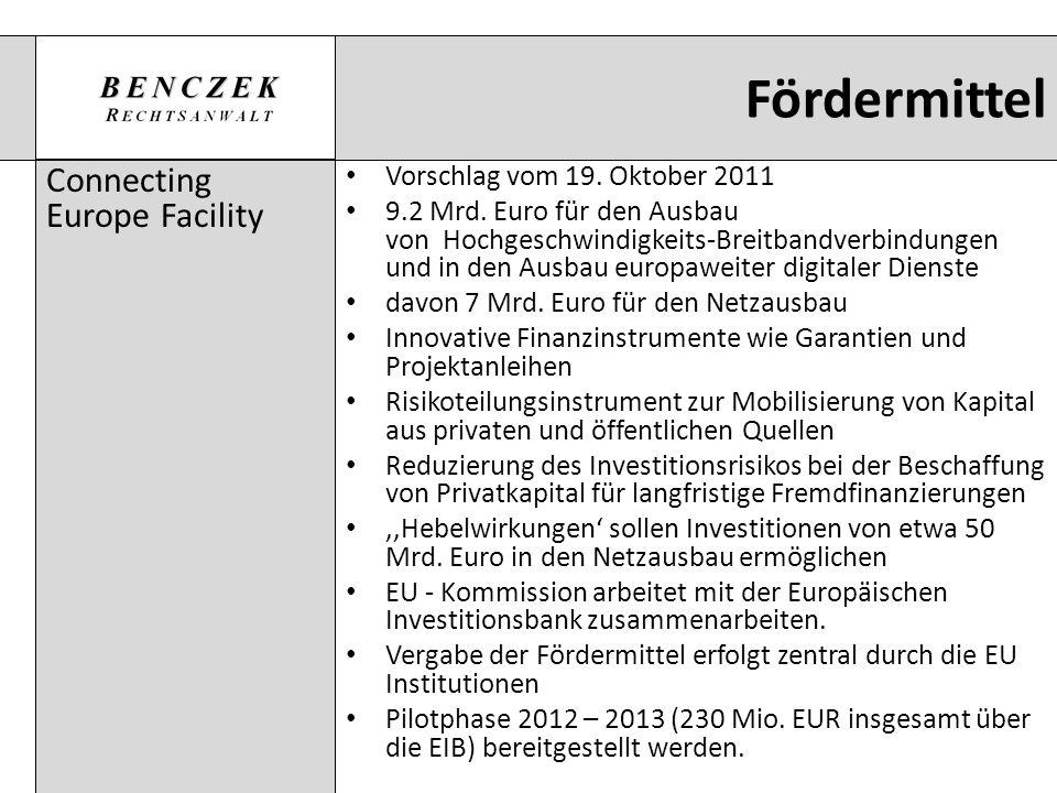 Fördermittel Connecting Europe Facility Vorschlag vom 19. Oktober 2011