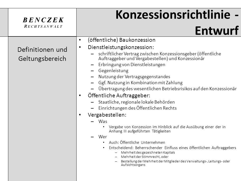 Konzessionsrichtlinie - Entwurf