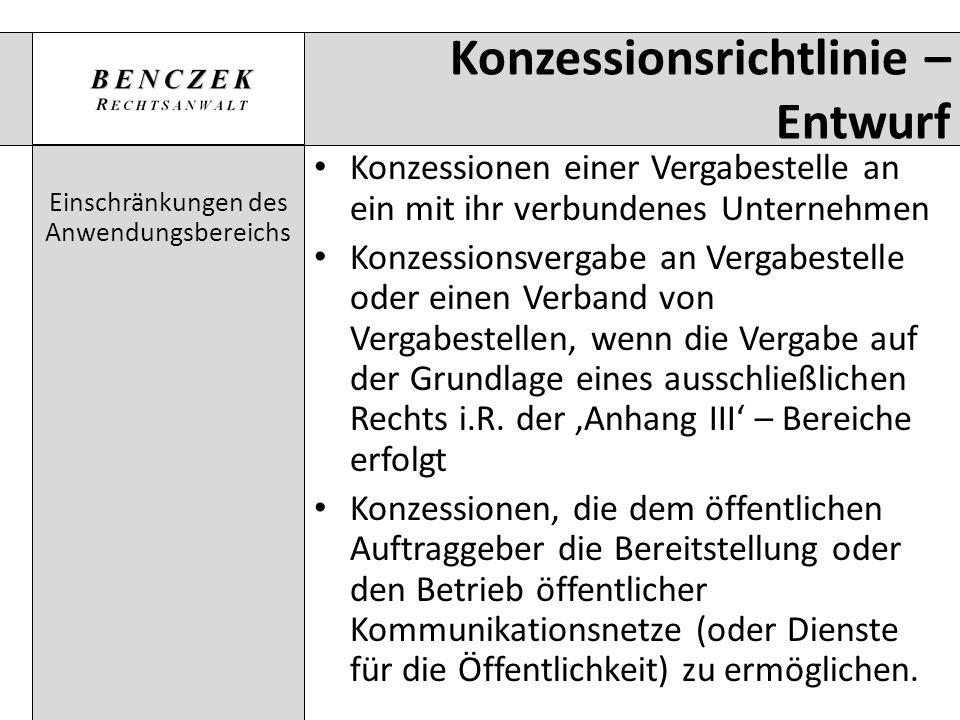 Konzessionsrichtlinie – Entwurf