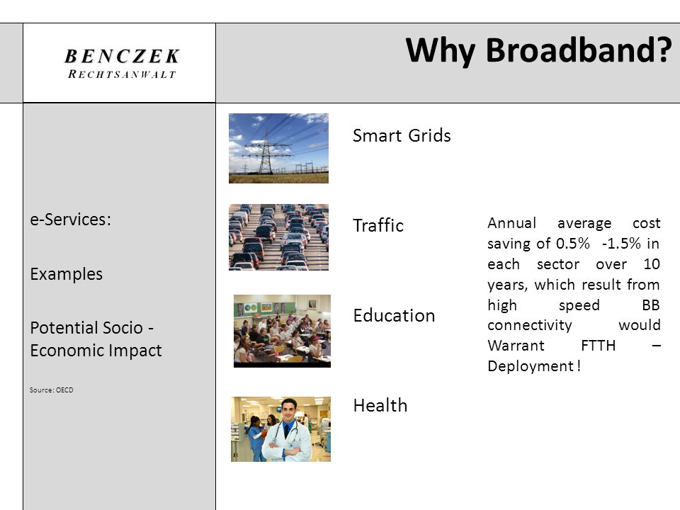 Why Broadband Smart Grids Traffic Education Health e-Services: