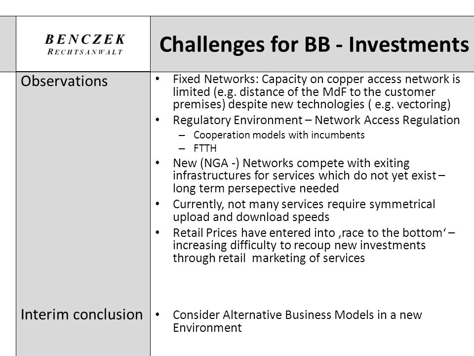 Challenges for BB - Investments