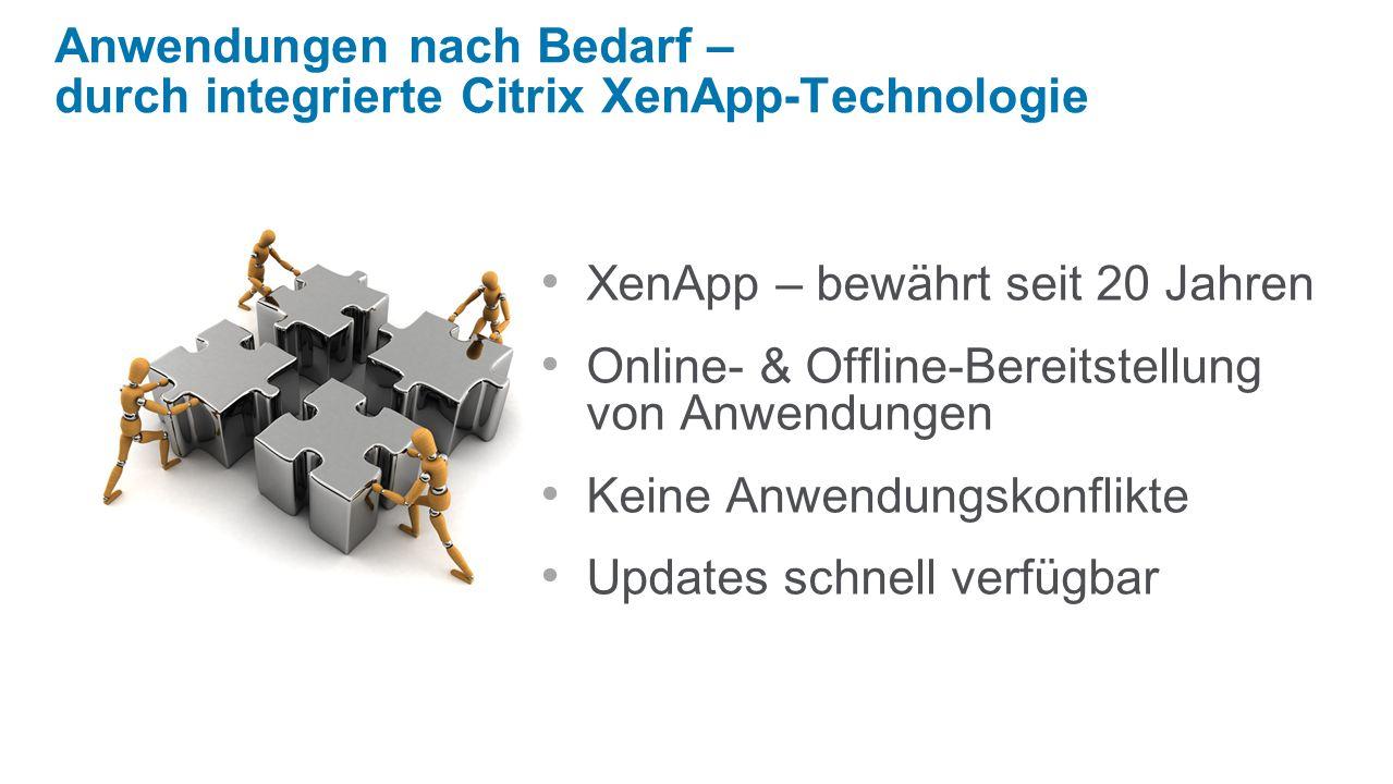 Anwendungen nach Bedarf – durch integrierte Citrix XenApp-Technologie