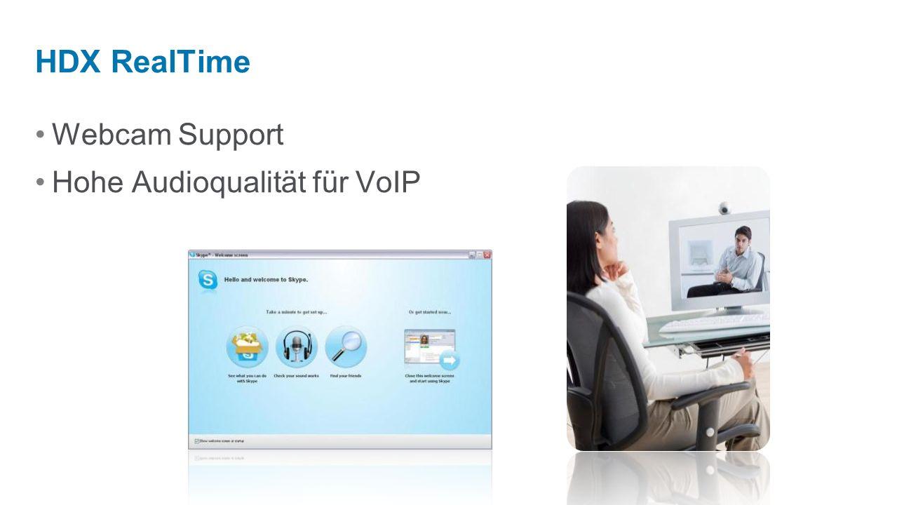 HDX RealTime Webcam Support Hohe Audioqualität für VoIP