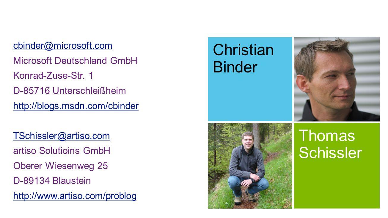 Christian Binder Thomas Schissler cbinder@microsoft.com
