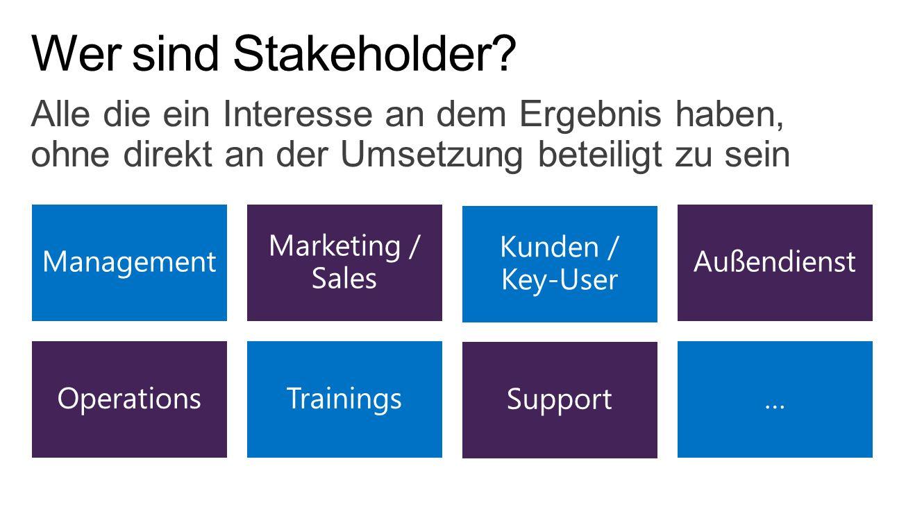 Wer sind Stakeholder Alle die ein Interesse an dem Ergebnis haben, ohne direkt an der Umsetzung beteiligt zu sein.