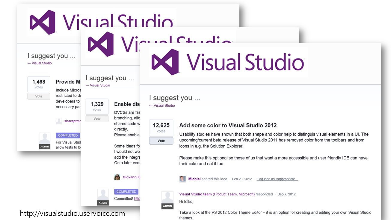 http://visualstudio.uservoice.com Visual Studio 11 3/28/2017