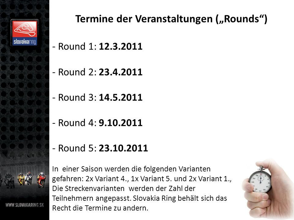 """Termine der Veranstaltungen (""""Rounds )"""