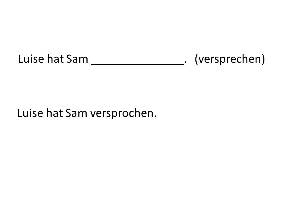 Luise hat Sam _______________. (versprechen) Luise hat Sam versprochen.