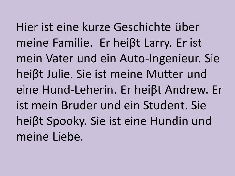 Hier ist eine kurze Geschichte über meine Familie. Er heiβt Larry
