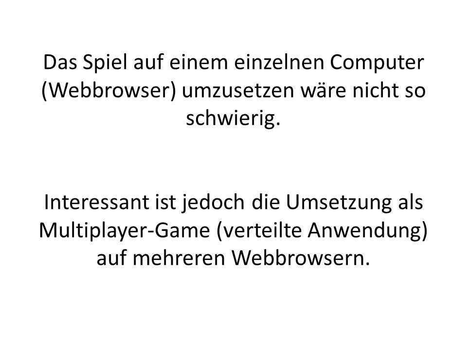 Das Spiel auf einem einzelnen Computer (Webbrowser) umzusetzen wäre nicht so schwierig.