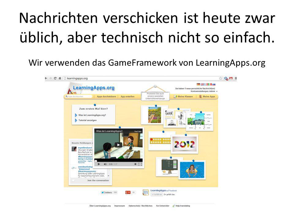 Wir verwenden das GameFramework von LearningApps.org