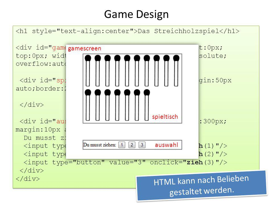 HTML kann nach Belieben gestaltet werden.
