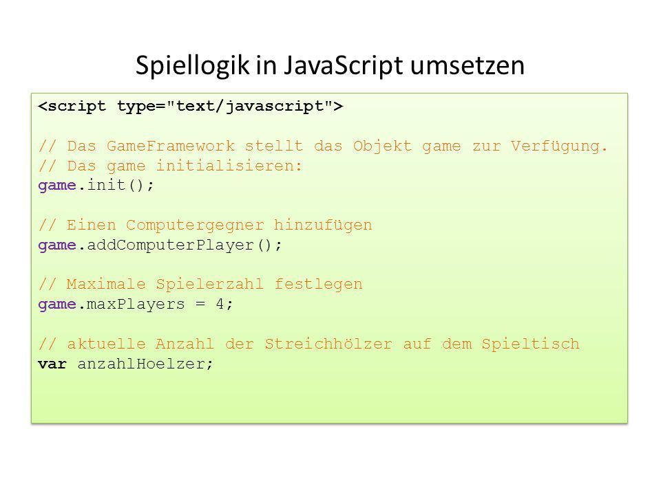 Spiellogik in JavaScript umsetzen