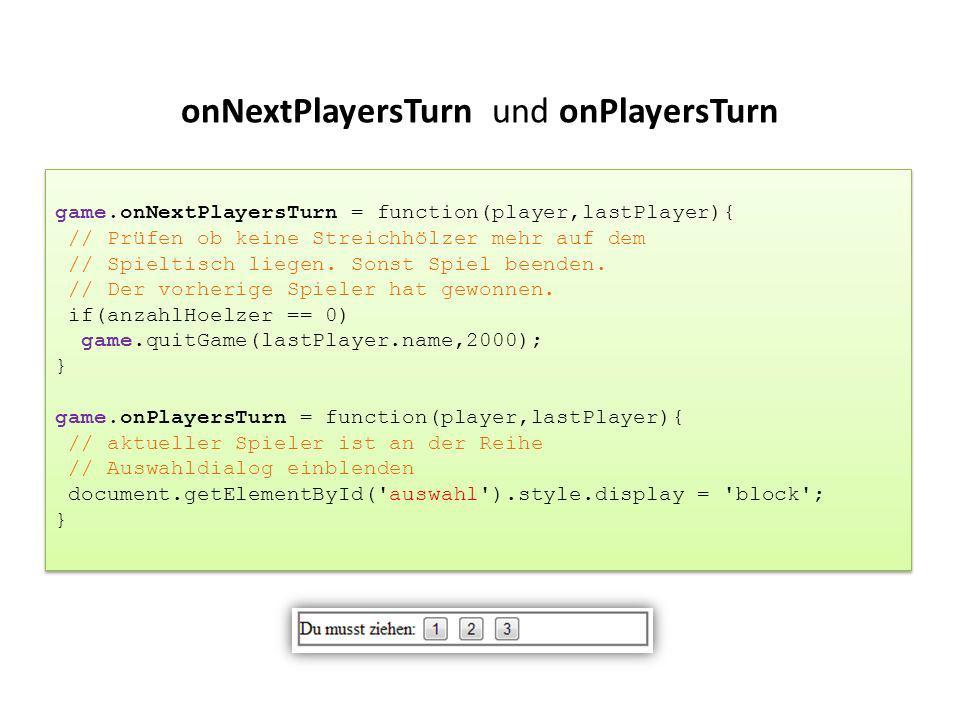 onNextPlayersTurn und onPlayersTurn