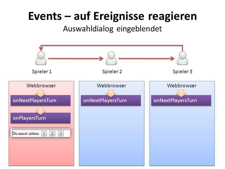 Events – auf Ereignisse reagieren Auswahldialog eingeblendet