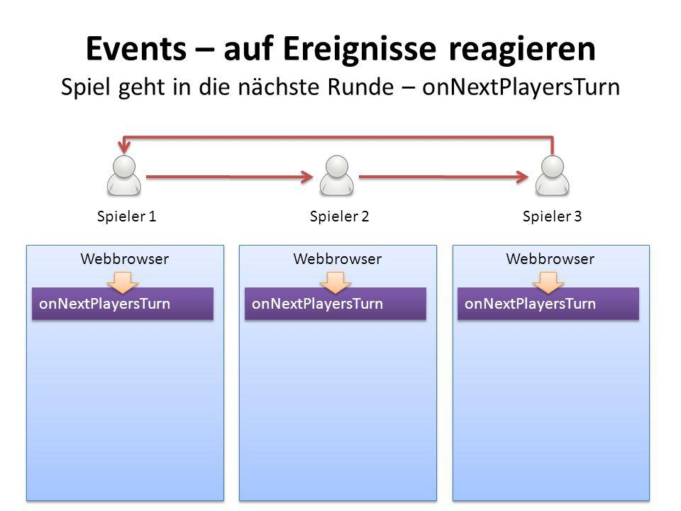 Events – auf Ereignisse reagieren Spiel geht in die nächste Runde – onNextPlayersTurn