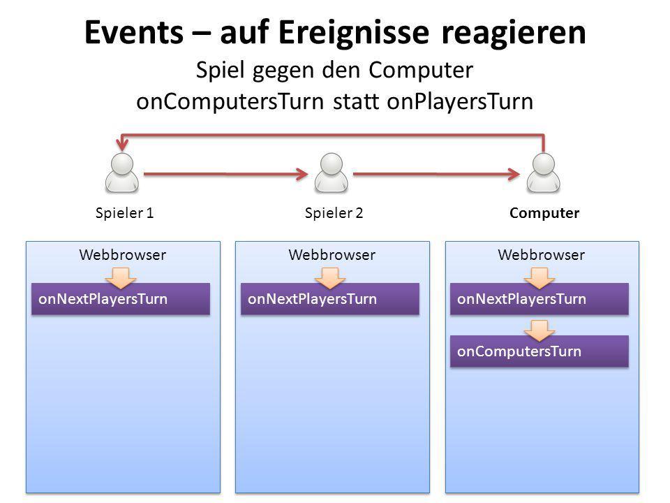 Events – auf Ereignisse reagieren Spiel gegen den Computer onComputersTurn statt onPlayersTurn