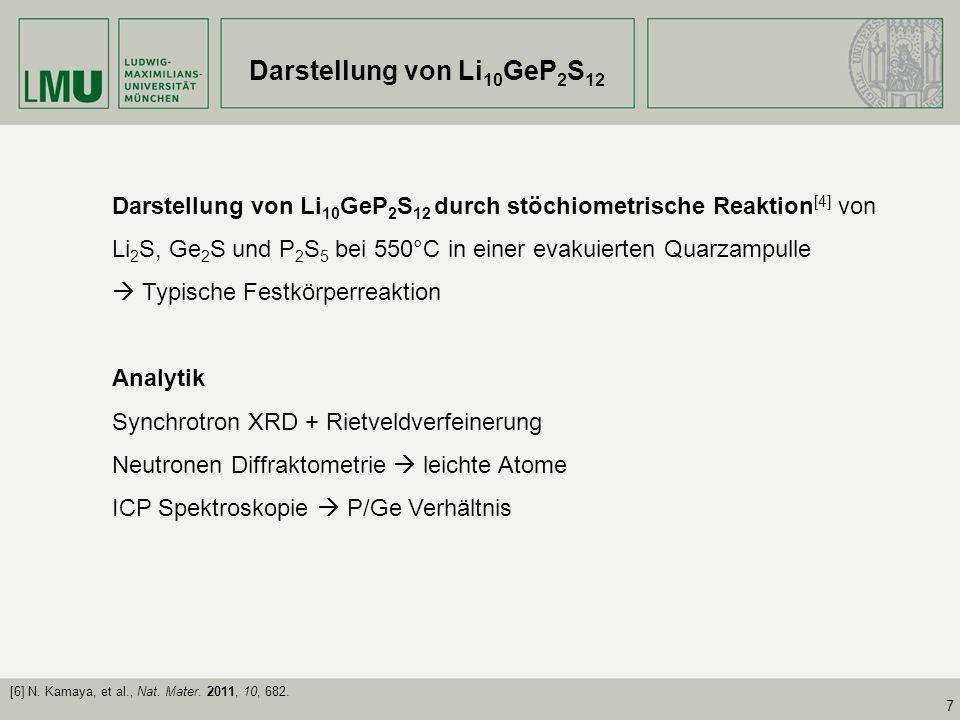 Darstellung von Li10GeP2S12