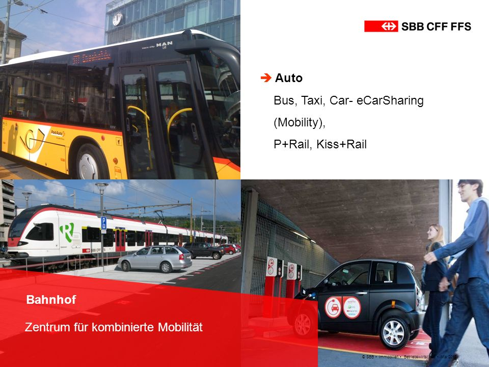 Bus, Taxi, Car- eCarSharing (Mobility), P+Rail, Kiss+Rail